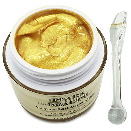 Premium 24K Gold Facial Mask With a Mask Brush - Rejuvenating Anti-Aging Face Mask for Flawless Skin - Remove Fine Lines, Clears Acne, Moisturizers, Hydrates and Leaves The Skin Radiant