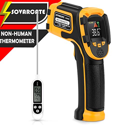 Infrared Thermometer Non-Contact Digital Laser Temperature Gun with Color Display -581112(-50600)Adjustable Emissivity - for Cooking/BBQ/Freezer - Meat Thermometer Included -Non Body Thermometer