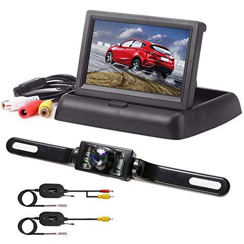 Podofo 4.3' LCD Moniteur Rétroviseur Pliable Caméra de Recul sans Fil Vision Nocturne Imperméable à l'eau Système de Recul Visuel