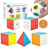 Pachock 6pcs Speed Cube Ensemble, Magique Ball Jouets 2x2x2 3x3x3 4x4x4 5x5x5 Pyraminx Puzzle Cube Cadeau de Vacances Emballage Cadeau pour Enfants et Adultes