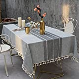 TEWENE Tablecloth, Rectangle Table Cloth Cotton Linen Wrinkle Free Anti-Fading Tablecloths Washable Embroidery Table Cover for Kitchen Dinning Party (Rectangle/Oblong, 55''x86'',6-8 Seats, Gray)