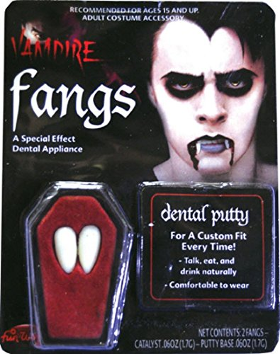 Fun World Women's Vampire Fangs One Size Fits Most White