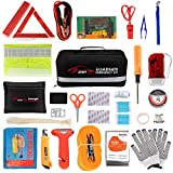 STDY Car Roadside Emergency Kit, Auto Vehicle Truck Safety Emergency Road Side Assistance Kits with Jumper Cables, First Aid Kit, Tow Rope, Reflective Warning Triangle, Tire Pressure Gauge, etc