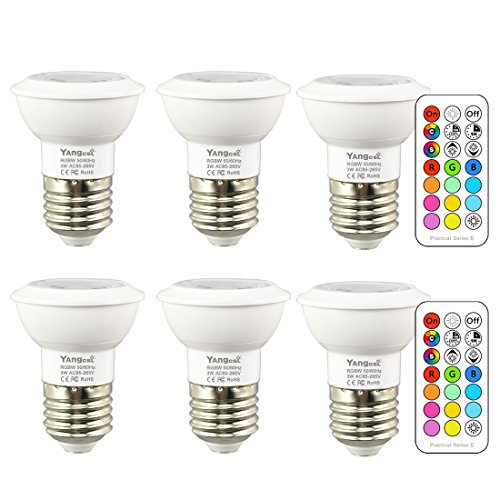 Yangcsl LED Color Changing RGB Light Bulb with Remote, 45 Beam Angle and Memory, E26 3W Mood Ambiance Lighting (6 Pack)
