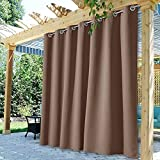 StangH Waterproof Outdoor Curtains for Patio Outside Privacy Curtains Blackout Thermal Insulated Drapes for Garden/Yard/Lanai, Mocha, W100 x L84, 1 Panel