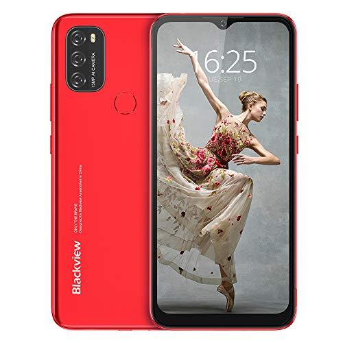 Android 11 Telephone Portable 4G, Blackview A70 (2021) Smartphone Pas Cher (Batterie 5380mAh, Écran Waterdrop 6.517' HD+, 3Go+32Go, Octa-Core, 13MP+5MP, Double Nano SIM) Face ID/Fingerprint/GPS-Rouge