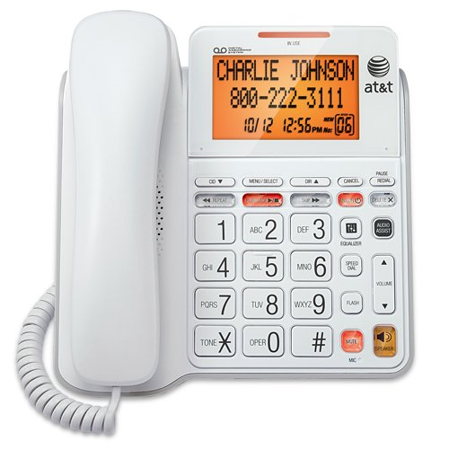 AT&T CL4940 Corded Standard Phone with Answering System and...