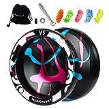 MAGICYOYO Responsive Yoyo V3, Aluminum Yoyo for Kids Beginner, Professional Yoyo with Unresponsive Ball Bearing for Advanced Yoyo Players + Removal Bearing Tool + Bag + 5 Replacement Yoyo Strings