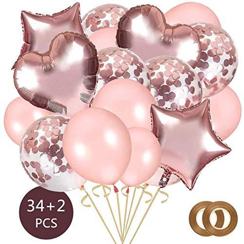 AivaToba Globo de Confeti de Oro Rosa , Helio Globos con Globo de Confeti, Globo de Amor de Papel de Aluminio,Globos de Fiesta de látex para Decoraciones de cumpleaños