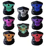 CIKIShield Skull Face Mask Neck Gaiter Seamless Scarf Bandanas Black (8pcs-Color Set)