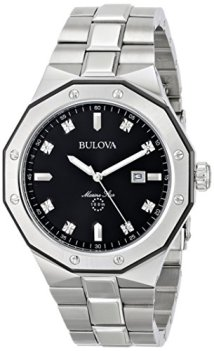 Bulova Men's Silver Diamond Dial Watch 98D103