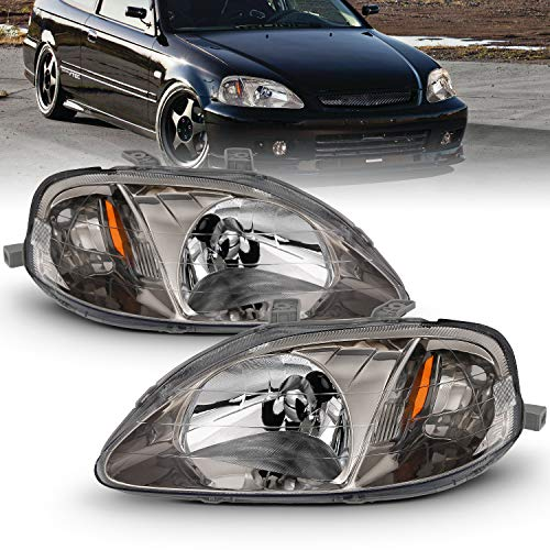 AmeriLite Gun Metal Replacement Headlights Set For 1999-2000 Honda Civic - Passenger and Driver Side