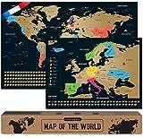 Carte du Monde a Gratter - en Français - Plus Carte Européenne - 68 X 43...