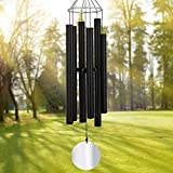 Large Wind Chimes Outdoor Deep Tone,45Inch Sympathy Wind Chimes Amazing Grace with 6 Tubes Tuned Relaxing Melody,Memorial Wind Chimes Large for Mom,Garden Decor,Black