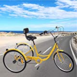 Ridgayard 24'' 3 Wheel Tricycle for Adult 6 Speed Adjustable Cruise Cargo Bike with Folding Basket for The Aged (Yellow)
