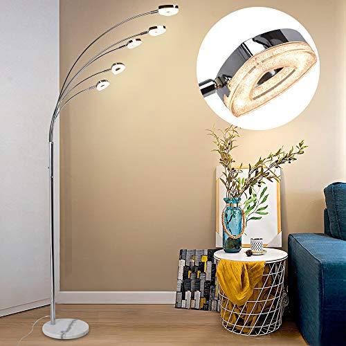 PADMA LED Stehlampe Modern Dimmbar 5 Flammig, Schwenkbar Stehleuchte Wohnzimmer mit 3 Stufe Helligkeiten, 5 * 4W Herzförmig Licht Schwenkbar, 1600LM 3000K Warmweiß für Schlafzimmer, Ecke, Studio, Büro