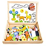 COOLJOY Puzzles Enfant en Bois Magnétique, Jigsaw avec Tableau Noir de Chevalet...