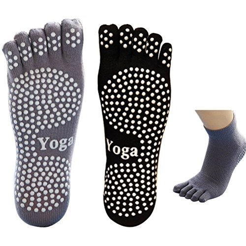 EQLEF 5 Dita Calzini Yoga Uomo Calzini Antiscivolo Grip Calzini Neri e Grigi in Cotone per l'equilibrio di casa Pilates Yoga Dance Home Balance-2(M)