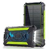 Batterie externe,20000mAh chargeur solaire portable Qi sans fil Power Bank avec 2 ports USB et 1 de...
