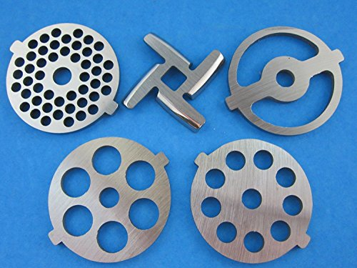 1 X (5) Pc SET New Grinding plate discs and knife for Kitchenaid Mixer FGA Food Chopper and Meat Grinding