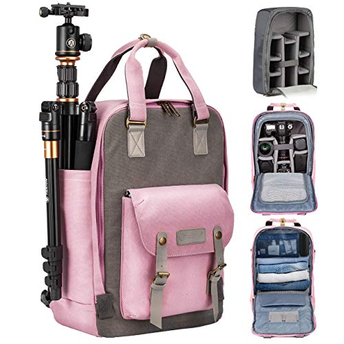 TARION Camera Bag Backpack for Women Photographers DSLR Backpack with Laptop Compartment Tripod Holder Padded Removable Insert Case Waterproof Raincover 2 in 1 Camera Equipment Bag Cute Pink