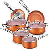 Nonstick Cookware Set, CUSINAID 10-Piece Aluminum Cookware Sets Induction Cookware Set Hard Porcelain Enamel Cookware Suitable for All Sctovetops and Induction Cooktops, Dishwasher/Oven Safe(Copper)