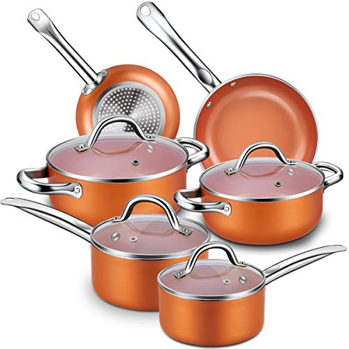 Nonstick Cookware Set, CUSINAID 10-Piece...