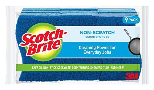Scotch-Brite Non-Scratch Scrub Sponges, 9 Scrub Sponges, Lasts 50% Longer than the Leading National Value Brand