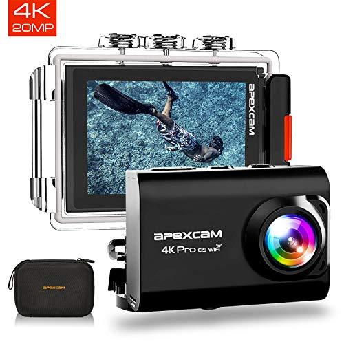 ApexcamAction Cam ProAggiornato4K 20MP Fotocamera EIS WIFI 2 Pollici Ultra HD Impermeabile 40M...