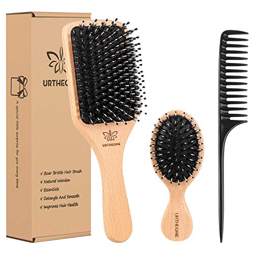 Boar Bristle Hair Brush and Comb Set for Women Men...