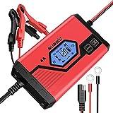 Suaoki - Chargeur de Batterie pour Voiture 4 Ampères 6/12V, Mainteneur Intelligent et Automatique avec Plusieurs Protections, 8 Etapes d'Identification des Charges pour Voiture, Camion, Moto