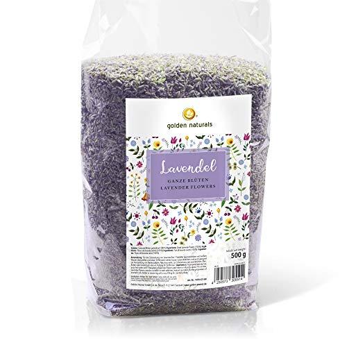 Lavendel | echte Lavendelblüten, essbar, getrocknet 500g | 100% naturrein aromatisch duftend | Tee, Backen, Kochen, Deko | Golden Naturals by Golden Peanut
