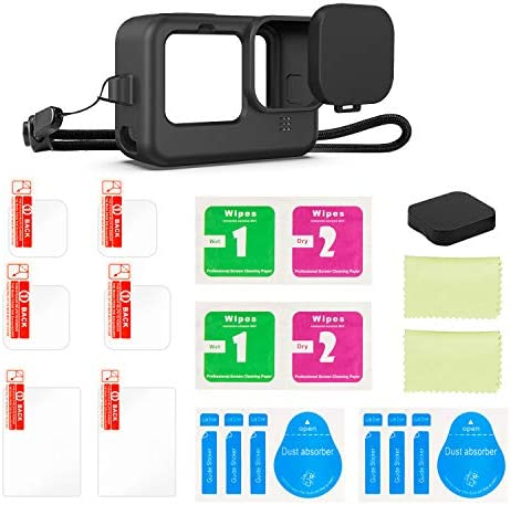 Kupton 9PCS Accessories Kit Compatible with GoPro HERO9 Black, Silicone Sleeve Case with Lanyard + 6PCS Tempered Glass Screen Lens Protector + 2PCS Lens Cap Compatible with GoPro Hero 9 Black