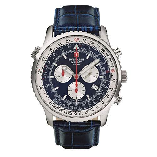 Swiss Alpine Military Herren Uhr Chronograph Analog Quarz 7078.9535SAM Leder