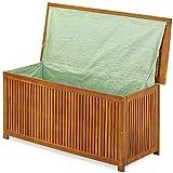 Coffre boîte de rangement jardin 117x50x59cm en acacia avec bâche...