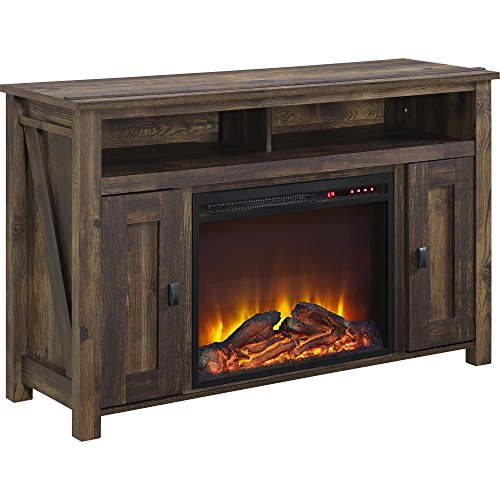 Ameriwood Home Farmington Electric Fireplace TV Console for TVs up to 50', Rustic,1794096COM