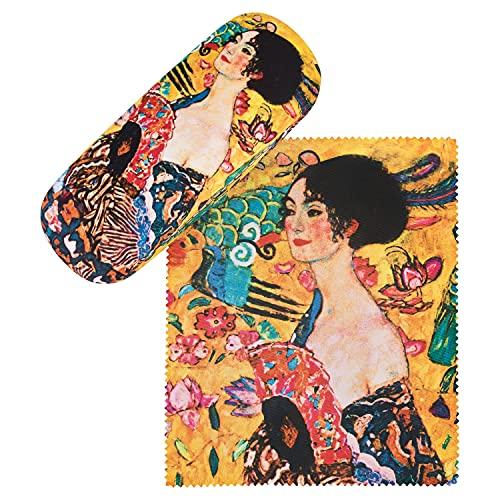 VON LILIENFELD Portaocchiali Astuccio Occhiali Leggero Stabile Colorato Compatto Gustav Klimt: Signora con ventaglio