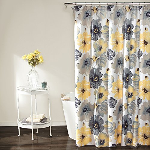 Lush Decor Leah Shower Curtain - Bathroom Flower Floral Large Blooms...