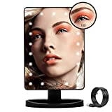 Makeup Mirror with Light Beauty Mirror with Stand, USB Powered Touch Screen Dimming LED Daylight LightedVanity Mirror with Detachable 10X Magnifying Cosmetic Mirror Black