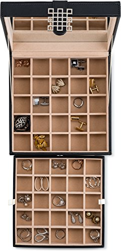 Product Image 2: Glenor Co Classic 50 Slot Jewelry Box Earring Organizer with Large Mirror, Black
