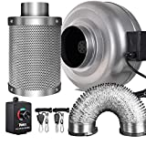 iPower 6 Inch 442 CFM Inline Fan Carbon Filter 16 Feet Ducting Combo with Variable Speed Controller and Rope Hanger for Grow Tent Ventilation