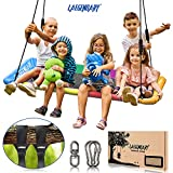 60 Inch Platform Tree Swing for Kids and Adults – Giant Flying Outdoor Indoor Saucer Hammock - Large Surf Tire Swingset Accessories Toys - 2 Straps, 2 Carabiners, 1 Swivel - 700 Lbs Yard Swings Set
