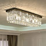 SILJOY L40' Rectangular Raindrop Crystal Chandelier Lighting Modern Led Rectangle Dining Light Flush Mount Ceiling Light Fixture