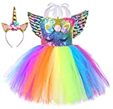 Tutu Dreams Baby Unicorn Costume for Girls 1st Birthday Party Outfit Outfits Sets (Sequin Rainbow, Small)