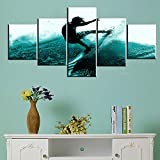 Surfer Artwork Extreme Surfing Sport Pictures for New Room Blue Wave Paintings 5 Panel Prints Wall Art on Canvas Native Gift Contemporary Home Decor Giclee Framed Stretched Ready to Hang(50''Wx24''H)