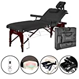 Master Massage 31' Montclair Salon Spa Beauty Therma Top Best Portable Massage Table Bed Couch Package with Deluxe Adjustable Headrest- Black Color WITH MEMORY FOAM