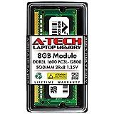 A-Tech 8GB DDR3 / DDR3L 1600MHz SODIMM PC3L-12800 2Rx8 Dual Rank 1.35V CL11 204-Pin Non-ECC Unbuffered Notebook Laptop RAM Memory Upgrade Module