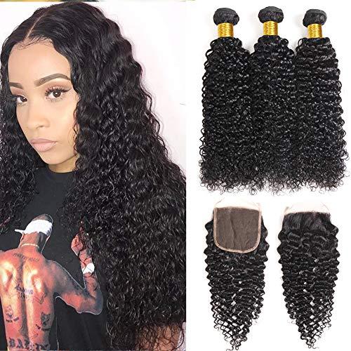 QIYING Kinkys Curly Human Hair Bundles With Closure (18 20 22+16 inch Closure) Brazilian Kinky Curly Virgin Human Hair Weave 3 Bundles 4x4 Lace Closure free Part 100% Human Hair Natural Color