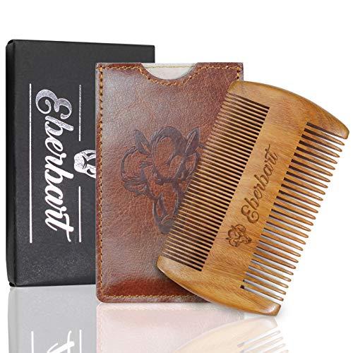 Eberbart Pettine barba legno uomo (Legno Pera + Custodia) – Pettine baffi tascabile per la cura della barba inl. custodia in pelle sintetica + eBook gratuito