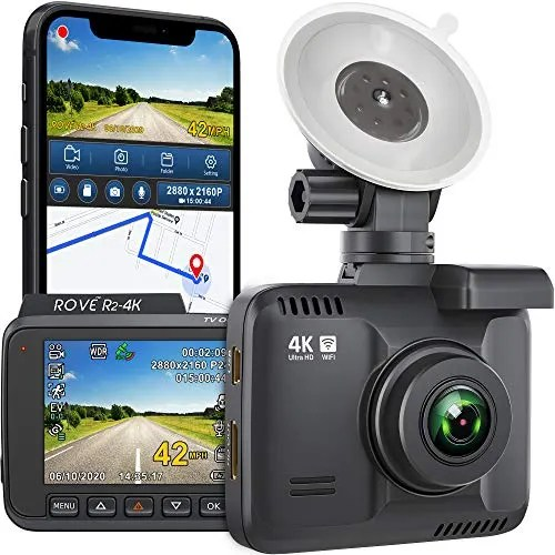 Rove R2-4K Dash Cam Built in WiFi GPS Car Dashboard Camera Recorder with UHD 2160P, 2.4' LCD, 150 Wide Angle, WDR, Night Vision